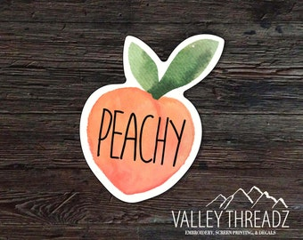 Peachy Decal - Peach Vinyl Sticker - Watercolor Peach Decal - Car Window Decal - Stickers - Car Decal - Laptop Sticker - Tumbler Decal
