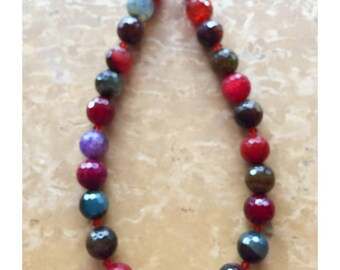Sterling Silver Multi- Colored Agate & Swarovski Crystal Adjustable Necklace