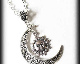 Crescent Moon Necklace with Sun, Boho Necklace, Celestial Jewelry, Wiccan Witch, Filigree Antique Silver, Alternative Jewelry, Gift For Her