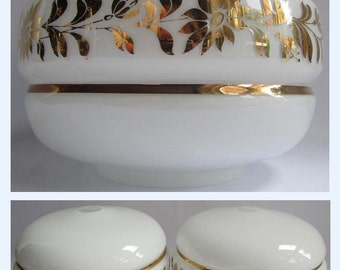 Large Vintage 60s White Opaline Gold Glass Ceiling Lampshade Light Shade