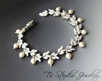 Leafy CZ Cubic Zirconia Pearl Bridal Bracelet - CALISTA