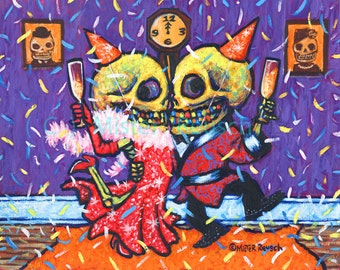 New Year's Eve Dancing Skeletons Original Painting by Mister Reusch