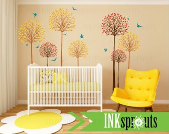 Birch Trees with Birds decal,Birch forest decal, birch tree set, Aspen trees, Modern Nursery, Nursery decals, Baby Decals, Woodland theme