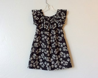 Girls Black Flutter Sleeve Dress - Scrolling Spirals in Cream on Black - Girls Little Black Dress - Size 12m, 18m 2T, 3T, 4T, 5, 6 or 8