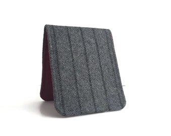 OhSoRetro Mens Wallet / Super Thin Billfold Wallet / Grey Pinstripe Wool / Non-Leather Wallet