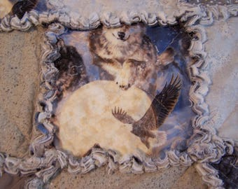 Rag Quilt - Wolf Rag Quilt - Crib Rag Quilt - Blue and Gray Rag Quilt - Lap Rag Quilt - Patchwork Rag Quilt - Lap Quilt - Cotton Rag Quilt