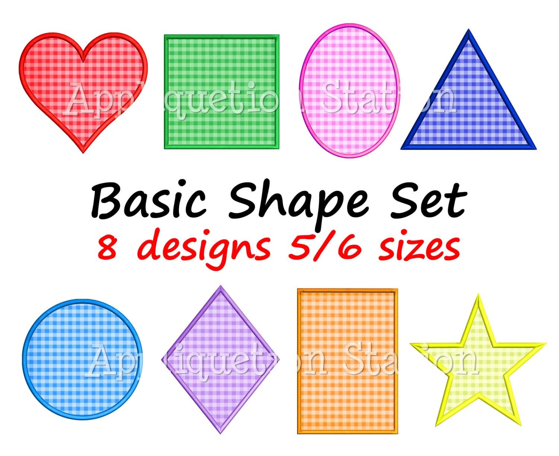 Workbooks squiggle art worksheets : Basic Shape Set Applique Machine Embroidery Design heart