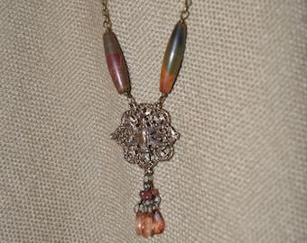 Virgin Mary Necklace w/ jasper earrings