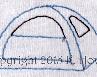 Tents Hand Embroidery Pattern, Camping, Outdoors, Vacation, Trip, PDF