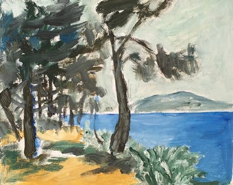 Oil painting of Trees by the Sea