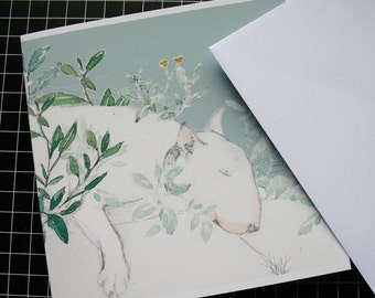 Sleeping English Bull Terrier Blank Card Shady Spot