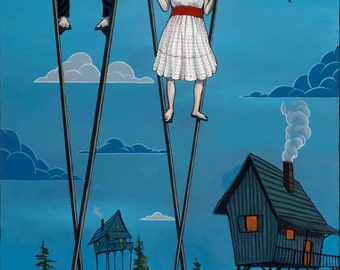 Delicate Balance, Stilts, house on stilts, circus, colorful, characters, pop surrealism, lowbrow, blue, acrylic painting, Asheville artist