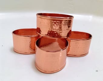 Vintage Oval Hammered Copper Napkin Rings Set of 4/ Copper Rings/ Home Events/ Housewarming Gift/ Rustic Home Decor/ Rustic Dining
