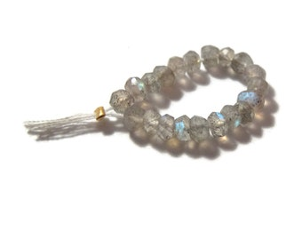 20 Labradorite Rondelles, Faceted 3.5mm - 4mm Natural Gemstones, Twenty Count of Beautiful Beads (L-Lab5)