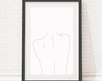 Artwork download - A4 size - Minimal line drawing of women's back - Digital file - Print poster