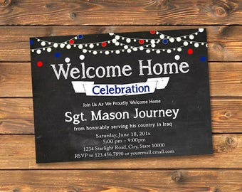 Military Welcome Home Party Invitation, Printable Homecoming Invitation Cards, Hero's Welcome, Chalkboard, String Lights, Any Branch