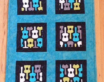 Guitars Wall Hanging, Modern Wall Hanging,  Musical Instruments Quilted Table Runner, Free US Shipping