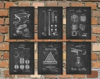 Billiards Patent Prints Set Of 6 - Billiard Inventions - Billiards Wall Art Poster - Billiards Room Patent - Pool Room Patent Poster