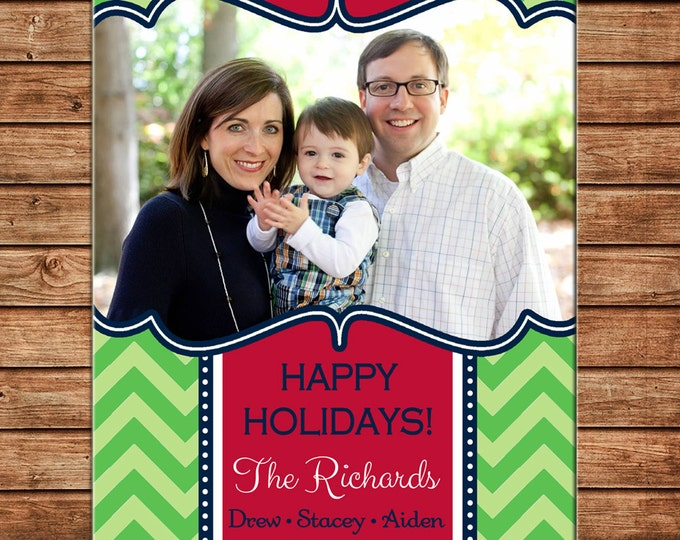 Christmas Holiday Photo Card Chevron - Can Personalize - Printable File or Printed Cards