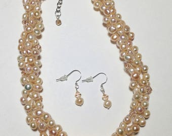 Light Peach Cultured Freshwater Pearls, Swarovski Faceted Crystal Bicones, Non-Tarnish Silver Plated Wire, Wire Crochet, Necklace, Earrings