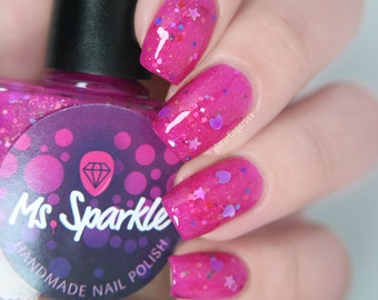 Princess Poop~Princess Chronicles Duo Indie Nail Polish Pink Glitter Jelly 10ML Limited Edition