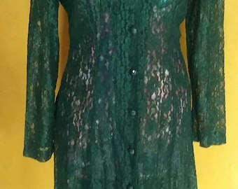 Vintage all lace bottle green dress/coat