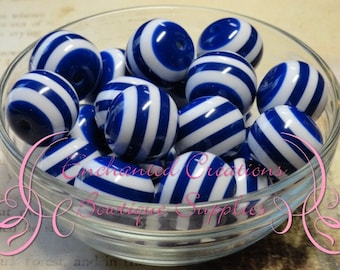 20mm Royal Blue and White Striped Beads, Chunky Beads, Bubblegum Beads, Gumball Beads, Chunky Jewelry Beads, Resin Beads
