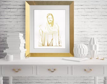 Jesus Christ gold foil digital printable art, Jesus Art, Jesus Print