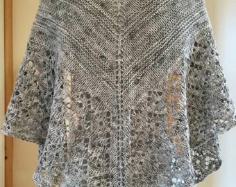 Grey Lace Handknit Shawl