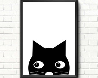 Cute cat print Nursery Scandinavian art Cat nursery decor Scandinavian modern minimalist wall art Nursery printable art Animal poster Black