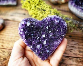 Large Grade A Amethyst Heart
