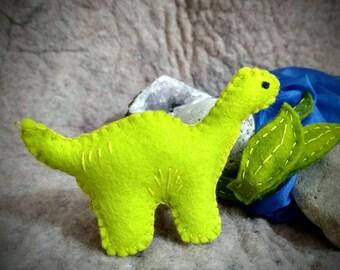 CUSTOM SMALL BRONTOSAURUS wool dinosaur toy
