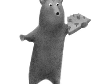 Bär mit Pizza - Original-Zeichnung