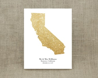 Personalized Sparkly Gold State Print (UNFRAMED)  - Makes a wonderful wedding, anniversary, engagement or housewarming gift!