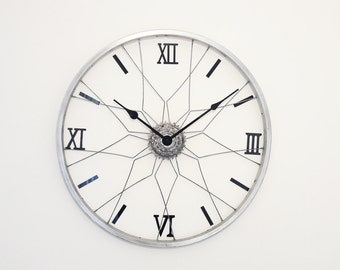 Bicycle wheel clock, wall clock, large wall clock, industrial clock, wheel clock, bike clock, bike wheel clock