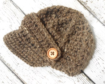 Barley color,Crochet newsboy hat , crochet baby boy hat  for photo prop, newborn baby hat, crochet baby hat
