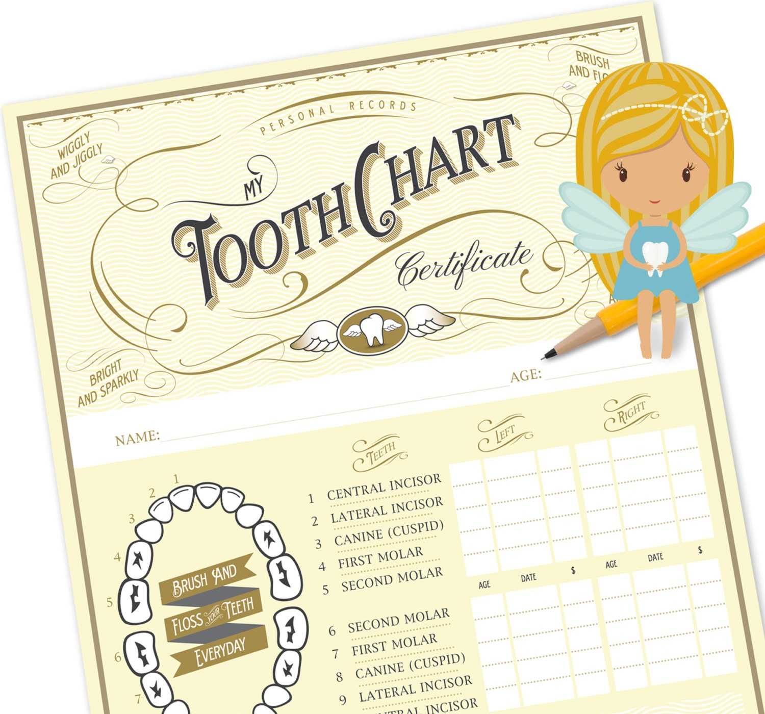 Tooth fairy chart tooth fairy certificate tooth fairy zoom xflitez Choice Image