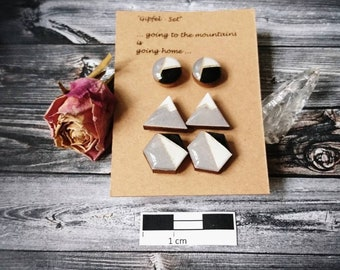 """Set of 3 wooden earrings/HOLZOHR Plug """"summit set"""" handmade and hand painted-resin/resin"""