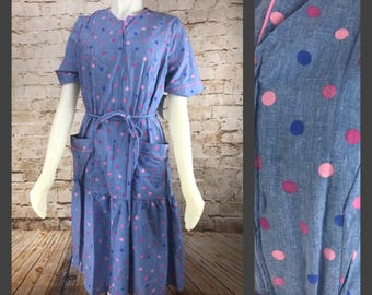 "Vintage 80's 90's ""Denim"" Polka Dot Dress with Pockets - Deadstock vintage dress - belted dress"