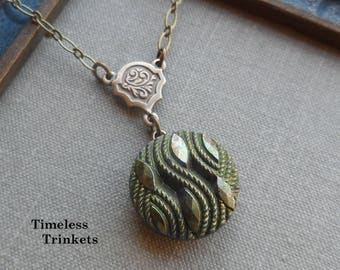 Vintage Glass Button Necklace, Costumaker, Brown Iris, Olive Green, Made in Western Germany, Antique Brass, Timeless Trinkets