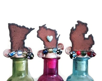 MINNESOTA WISCONSIN or MICHIGAN Rusty Rustic Rusted Metal Decorative Wine Bottle Cork Stopper Topper Retail and Wholesale