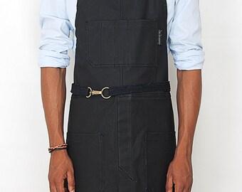 No-Tie Apron - Coated Panther Black Denim - Black Leather - Split-Leg