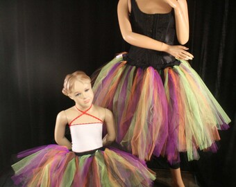 Mommy and me matching tutu skirts adult child halloween witch Streamer knee length set pair costume --You Choose Size -- Sisters of the Moon