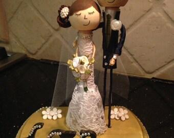 Unique Wedding Cake Topper - Little You Keepsake Bride and Groom Couple