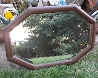 Mirror, Vintage Mirror, Brown Oblong Beveled Mirror, Vintage Wood Mirror, Vintage Home Decor, Home Decor, Country Decor, Farm house Decor