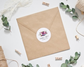 Personalised Purple and Pink Watercolour Floral Wedding Envelope Stickers