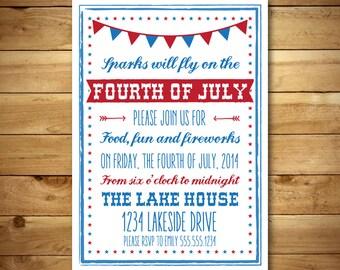 july 4th invite card etsy