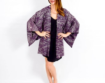 Purple Haori | Purple Silk Print Haori