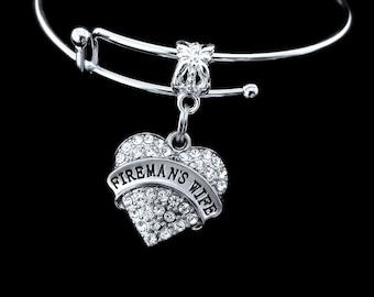 Firemans Wife Bracelet crystal Heart charm Firemans wife Jewelry Firemans wife gift