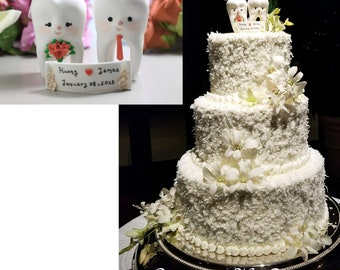 Molar Teeth wedding cake toppers - dentist bride groom dental hygienist odontologist oral surgeon funny cute figurines coral blush pink red